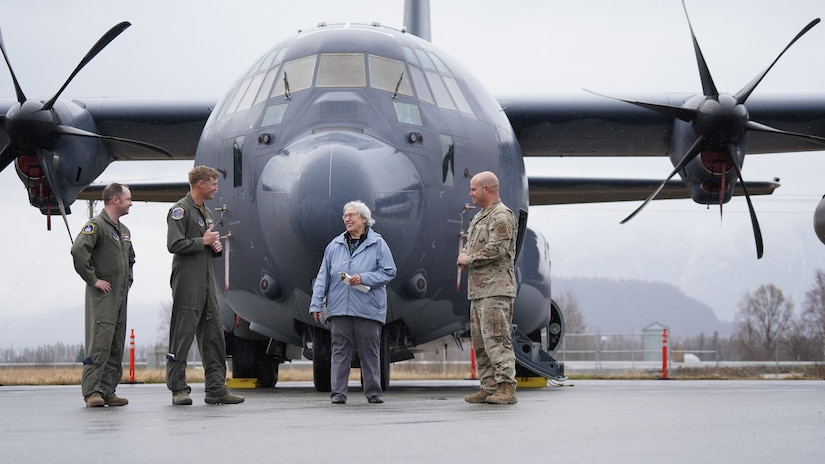 Alaska City of Palmer Mayor Edna DeVries presented the 176th Wing, Alaska Air National Guard with a key to the city on May 7. This token of trust and honor was received Capt. Matt Seakup, Capt. Chris Brunner and Chief Master Sgt. Andy Reynolds from the 211th Rescue Squadron after they landed an HC-130J Combat King II at the Palmer Municipal Airport for the 2021 Great Alaska Aviation Gathering. (U.S. Air Force photo by Dana Rosso)