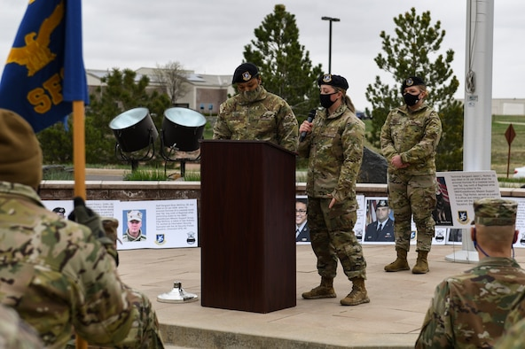 Defenders from the 460th Security Forces Squadron participate in a memorial ruck march to honor Fallen Defenders during Police Week on Buckley Air Force Base Colo., May 10, 2021.