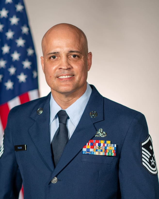 Official photo of Master Sgt. Jose R. Pagan, Jr., the Air Force Reserve Command Outstanding First Sgt. of the Year award winner for 2021.