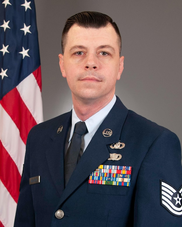 Official photo of the Air Force Reserve Command's 2021 Outstanding NCO of the Year, Tech. Sgt. Clint Melancon.