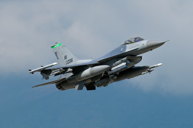 A U.S. Air Force F-16 Fighting Falcon assigned to the 555th Fighter Squadron participating in Astral Knight 2021 (AK21) takes off at Aviano Air Base, Italy, May 13, 2021. This integrated air and missile defense exercise focuses on defending key terrain and is involving different flight operations and computer-assisted scenarios. (U.S. Air Force photo by Airman 1st Class Brooke Moeder)
