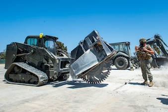 NMCB-3 conducts airfield damage repair training.