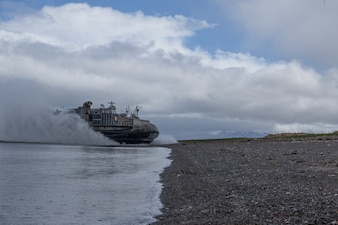 Landing Craft, Air Cushion 79, assigned to Assault Craft Unit (ACU) 5 arrives at Cold Bay, Alaska in support of Northern Edge 2021.