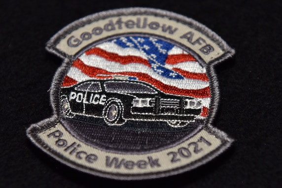 A Police Week patch displayed on Goodfellow Air Force Base, Texas, May 13, 2021. The 17th Security Forces Squadron hosted several events throughout National Police Week. (U.S. Air Force photo by Staff Sgt. Seraiah Wolf)