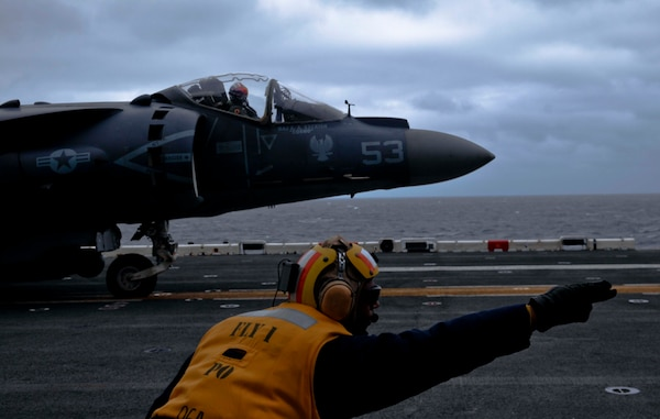 210513-M-TU241-1050 NORTH SEA (May 13, 2021) An AV-8B Harrier II with the 24th Marine Expeditionary Unit (MEU) prepares for takeoff during a long range strike training evolution aboard the Wasp-class amphibious assault ship USS Iwo Jima (LHD 7), May 13, 2021. 24th MEU, embarked with the Iwo Jima Amphibious Ready Group, is forward deployed in the U.S. Sixth Fleet area of operations in support of U.S. national security interests in Europe and Africa. (U.S. Marine Corps photo by Sgt. Isaiah Campbell/Released)