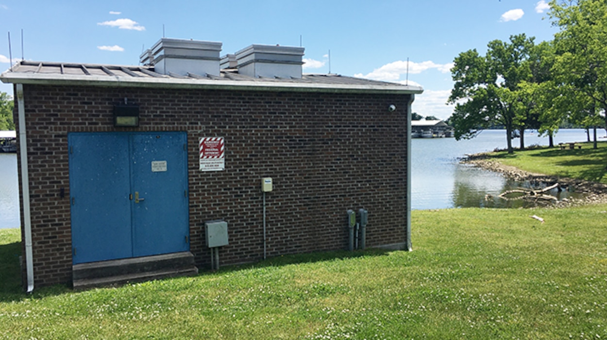 This is a water intake facility on the shoreline of Old Hickory Lake in Hendersonville, Tennessee, May 13, 2021. The U.S. Army Corps of Engineers Nashville District announces the lifting of the Old Hickory Lake water supply moratorium. (USACE Photo by Crystal Tingle)