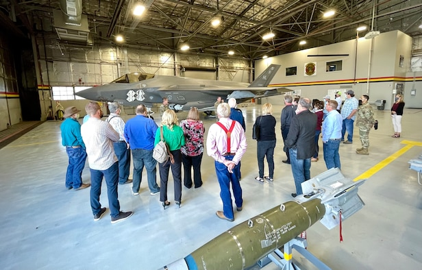 Leaders from the 419th Fighter Wing and 388th Fighter Wing at Hill Air Force Base, Utah, host a group of commissioners and other county employees from across Utah