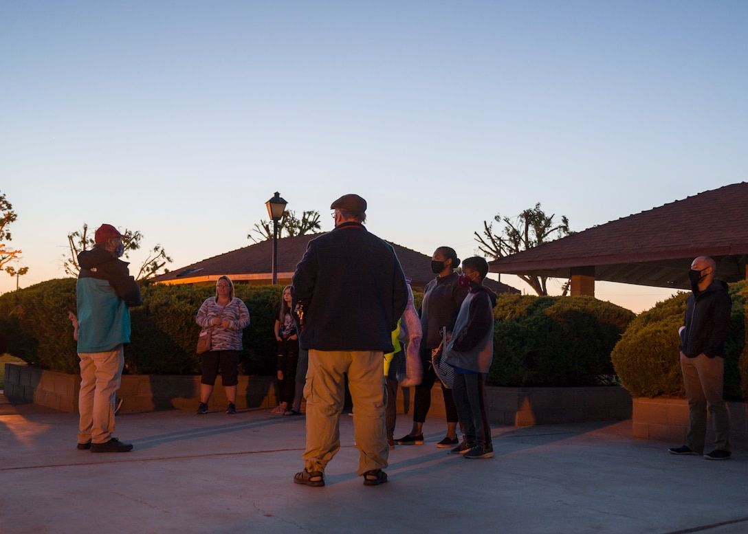 Members of the Antelope Valley Astronomy Club provides a briefing on their telescopes during the Stars 'n' S'mores star party at Edwards Air Force Base, California, May 7. (Air Force photo by Giancarlo Casem)