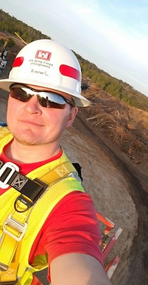 On May 7, 2021, Trevor Lindsey, construction contract representative for the Kansas City District, displayed an act of heroism at Longview Lake in Kansas City, Mo. During a construction meeting outdoors, he heard a cry for help on the water and quickly responded to save a potential drowning victim, who was hanging on to the side of a capsized canoe, without a life jacket.