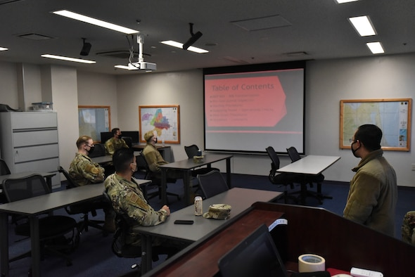 U.S. Air Force Airmen assigned to the 35th Fighter Wing attend an Agile Combat Employment (ACE) class hosted by the 35th Civil Engineer Squadron at Misawa Air Base, Japan, April 8, 2021.