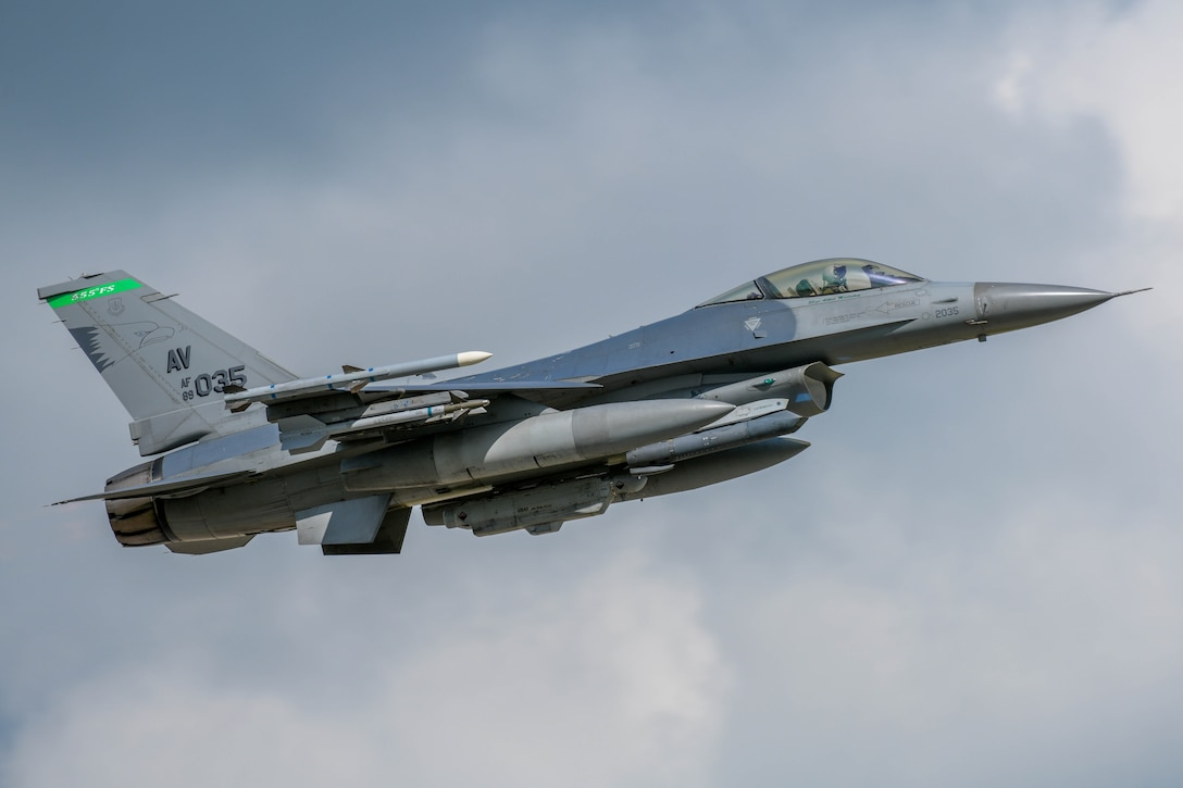 A U.S. Air Force Fighting Falcon assigned to the 555th Fighter Squadron participating in Astral Knight 2021 takes off at Aviano Air Base, Italy, May 13, 2021. Astral Knight 2021 is an integrated air and missile defense exercise focused on conducting integrated air and missile defense of various terrains. (U.S. Air Force photo by Airman 1st Class Brooke Moeder)