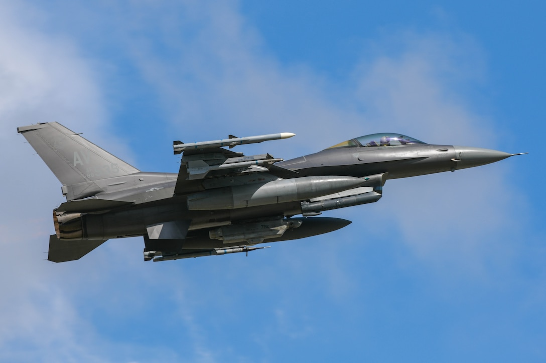 A U.S. Air Force Fighting Falcon assigned to the 555th Fighter Squadron takes off in support of Astral Knight 2021 at Aviano Air Base, Italy, May 13, 2021. Astral Knight 2021 is a joint multinational exercise involving Airmen, Soldiers, and Sailors from the United States and service members from the Croatian, Hellenic, Italian, and Slovenian forces. (U.S. Air Force photo by Airman 1st Class Brooke Moeder)