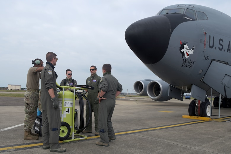 Airmen assigned to the 100th Air Refueling Wing discuss their emergency evacuation plan prior to participating in the Large Force Exercise at RAF Mildenhall, May 27, 2020. Airmen and aircraft from the 48th Fighter Wing, 31st Fighter Wing, 52nd Fighter Wing, and 100th Air Refueling Wing participated in this LFE. (U.S. Air Force photo by Senior Airman Benjamin Cooper)