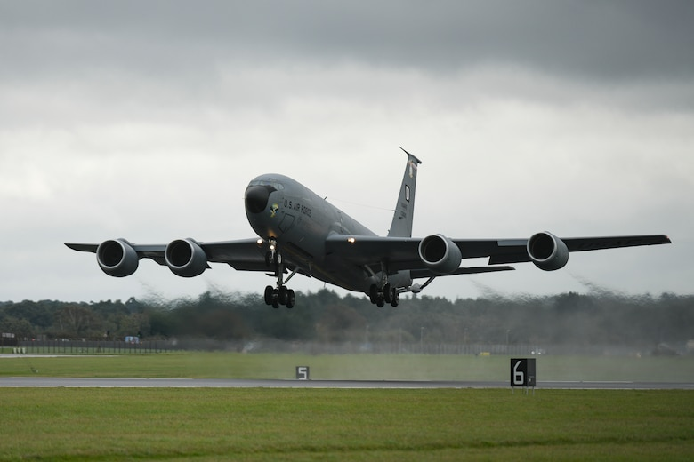 """A U.S. Air Force KC-135 Stratotanker aircraft assigned to the 100th Air Refueling Wing takes off at Royal Air Force Mildenhall, England, Oct. 8, 2020. The 100th ARW is the only permanent U.S. air refueling wing in the European theater, providing the critical air refueling """"bridge"""" which allows the expeditionary Air Force to deploy around the globe at a moment's notice. (U.S. Air Force photo by Staff Sgt. Lexie West)"""