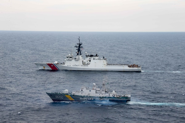 USCGC Hamilton (WMSL 753) operates with the Ukranian coast guard  in the Black Sea.