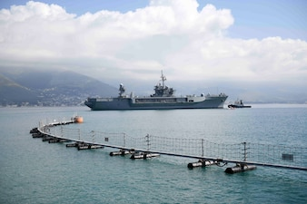 USS Mount Whitney (LCC 20) departs Gaeta, Italy, May 6, 2021.
