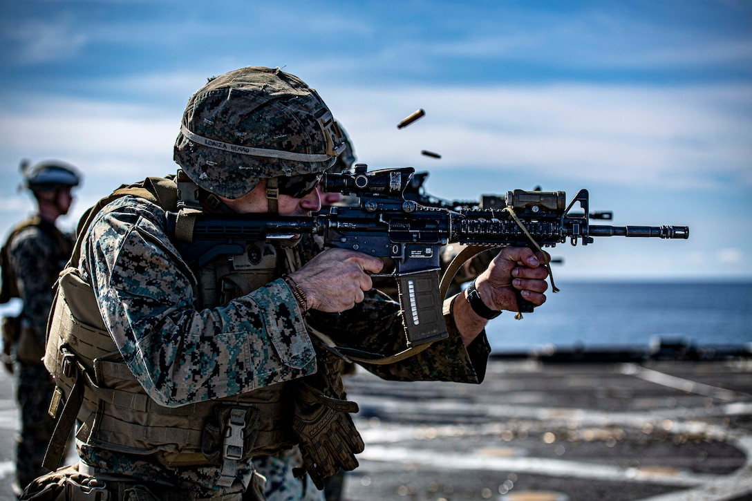 U.S. Marines conduct a live-fire range on the Harpers Ferry-class dock landing ship USS Carter Hall (LSD 50) April 13.