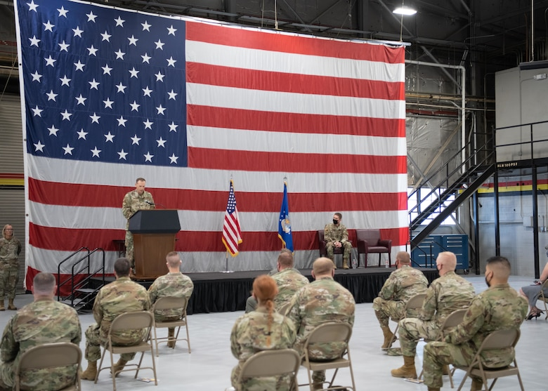 A photo of a change of command ceremony
