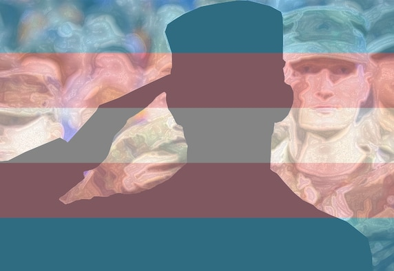 a silhouette of an Airman saluting in front of a group of their peers with the Transgender pride flag superimposed over the image.