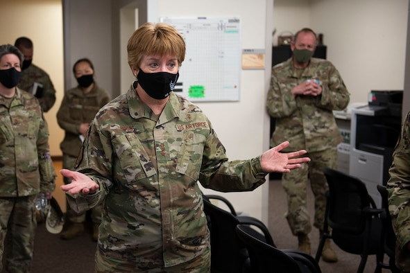Lt. Gen. Dorothy Hogg, U.S. Air Force surgeon general, briefs the Malmstrom clinic public health office April 29, 2021, on her visit to Malmstrom Air Force Base, Mont.