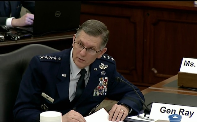 The Air Force Global Strike Command Commander, Gen. Tim Ray, participates in a Senate Armed Services Committee hearing May 12, focused on the budget posture for nuclear forces.