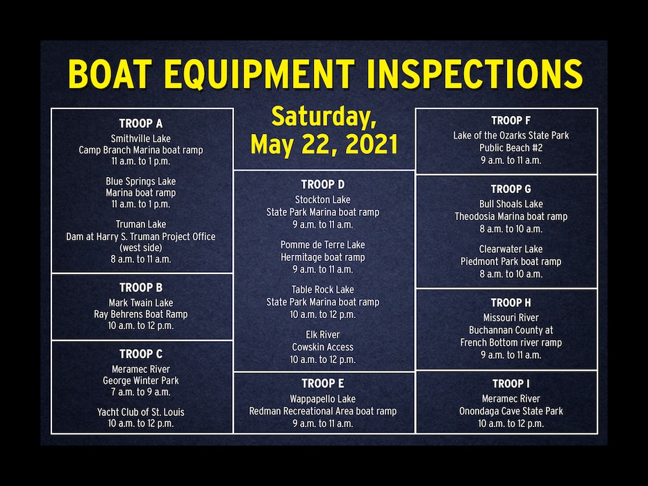 The Patrol's marine operations troopers are available to inspect the required equipment on your boat, at your request, to make sure you're in compliance with state law. To help facilitate these inspections, marine operations troopers will be at the following boat equipment inspection stations on Saturday, May 22, 2021.