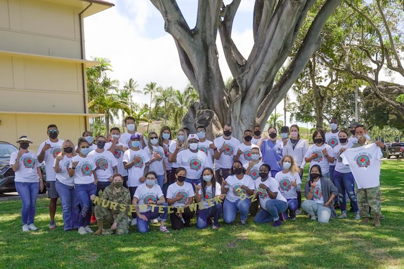Airmen from the 15th Wing Medical Group celebrate National Nurses Week at Joint Base Pearl Harbor-Hickam, Hawaii, May 12, 2021. The American Nurse Association declared May 6-12 National Nurses week highlighting nurses' courage and commitment to keeping communities safe and healthy. (U.S. Air Force photo by Airman 1st Class Makensie Cooper)