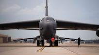 Barksdale Airmen prepare a B-52H Stratofortress for takeoff at Barksdale Air Force Base, Louisiana, May 16, 2021. The bomber is capable of flying at high subsonic speeds at altitudes up to 50,000 feet (15,166.6 meters). It can carry nuclear or precision guided conventional ordnance with worldwide precision navigation capability. (U.S. Air Force photo by Senior Airman Jacob B. Wrightsman)