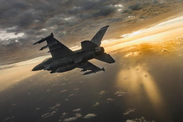 "A U.S. Air Force F-16  flown by Alec ""Bulldog"" Spencer during a mission at Eglin Air Force Base, Florida, Feb. 14, 2019. (U.S. Air Force photo by Tech. Sgt. John Raven)"
