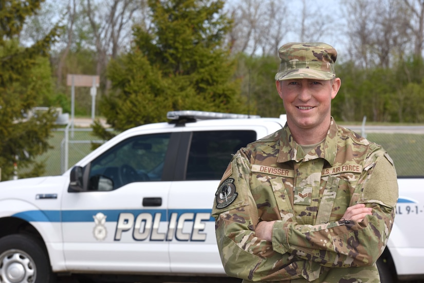 U.S. Air Force Senior Airman Bob Devisser, 110th Security Forces Squadron, 110th Wing, Battle Creek Air National Guard Base, Michigan, poses for a portrait