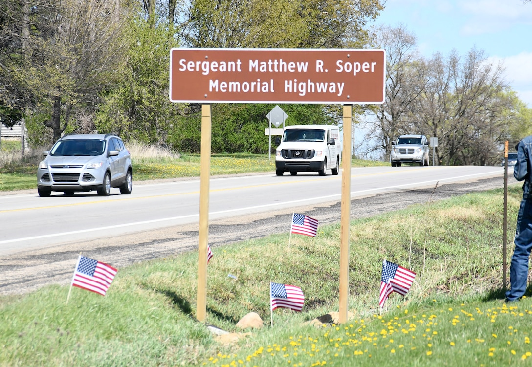 A highway memorial sign was unveiled on M-60 in Jackson County May 30, 2021 honoring Army Sgt. Matthew R. Soper
