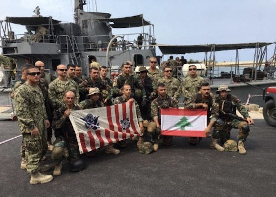 U. S. Coast Guard Maritime Engagement Team and the Lebanese Armed Forces conduct subject matter exchanges Sunday, June 17, 2018 while participating in exercise Resolute Response 2018 in Lebanon. U.S. Coast Guard photo courtesy of Coast Guard Patrol Forces Southwest Asia