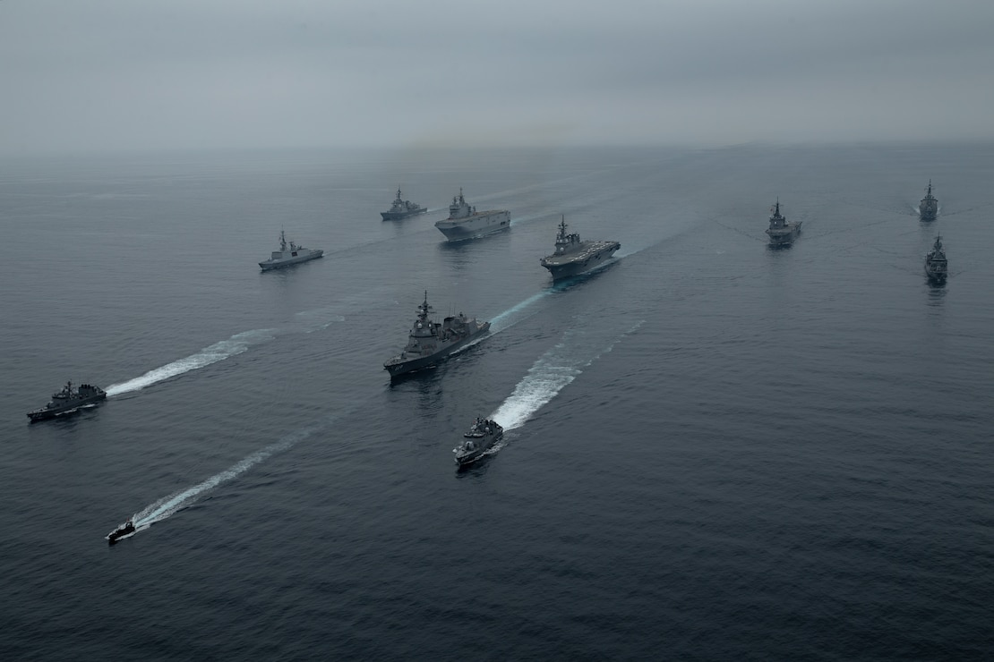 The USS New Orleans (LPD 18), joined by the Royal Australian Navy's HMAS Parramatta (FFH 154), the French Navy's FS Tonnerre (L9014), and Japan Maritime Self-Defense Force's JS Ōsumi, transit together during exercise Jeanne D'Arc 21, off the coast of Kagoshima, Japan, May 14.