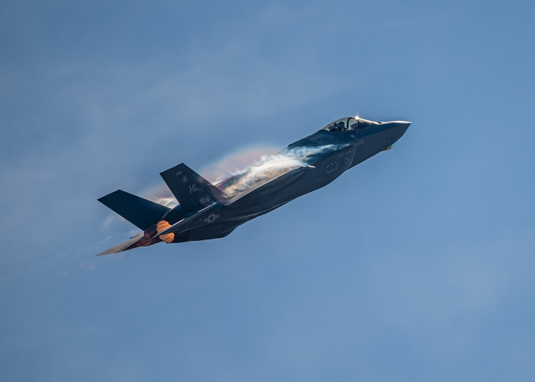 An F-35A Lightning II fighter jet in the air