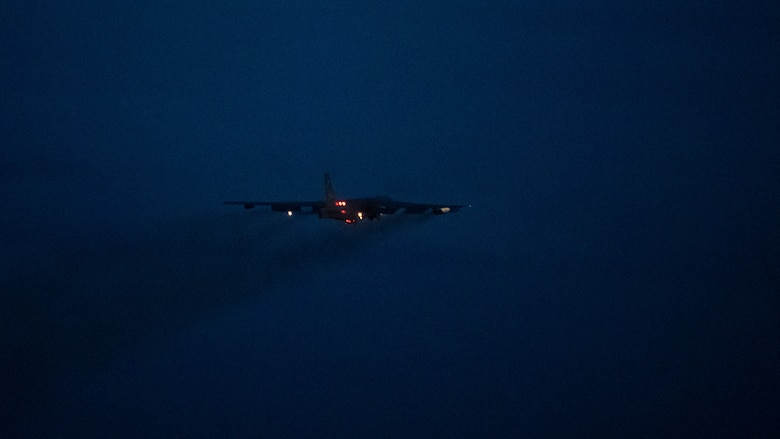 A B-52H Stratofortress takes off from Barksdale Air Force Base, Louisiana, May 16, 2021. The bomber is capable of flying at high subsonic speeds at altitudes up to 50,000 feet (15,166.6 meters). It can carry nuclear or precision guided conventional ordnance with worldwide precision navigation capability. (U.S. Air Force photo by Senior Airman Jacob B. Wrightsman)