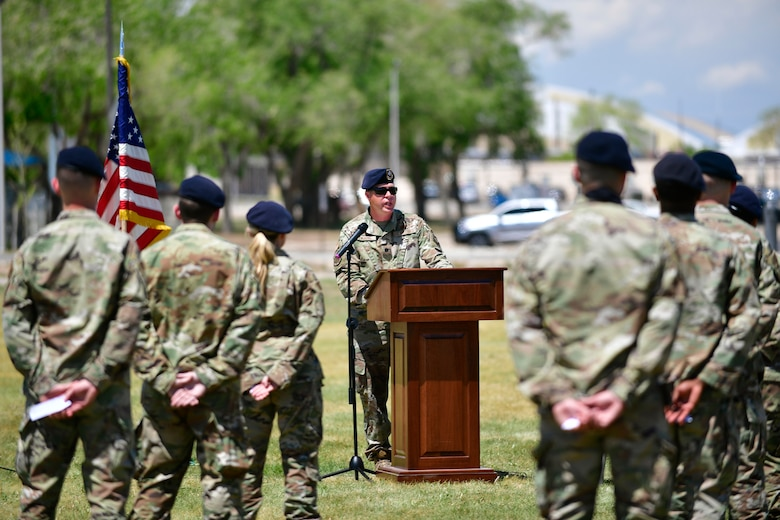 Lt Col. Michael Twining, 75th Security Forces Squadron commander, provides remarks during a ceremony guard mount to honor fallen security forces members during National Police Week May 14, 2021, at Hill Air Force Base, Utah. The guard mount was one of many events 75th SFS hosted to commemorate the week to honor the sacrifices of the law enforcement community. (U.S. Air Force photo by Todd Cromar)