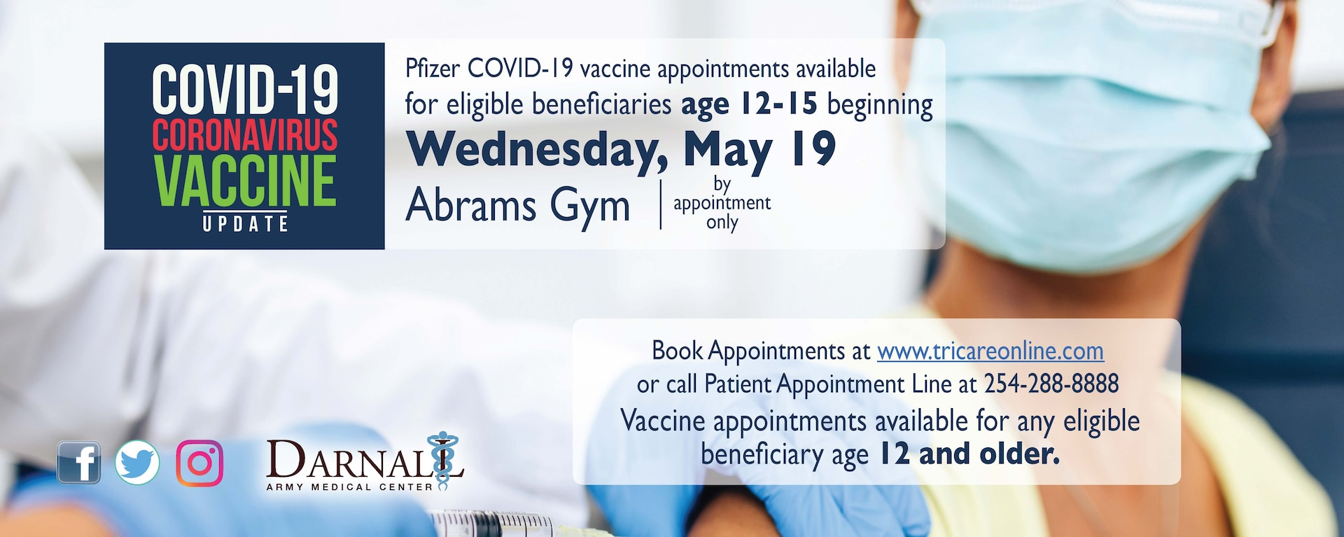 CRDAMC opens COVID-19 vaccine appointments to 12 -15 year olds.