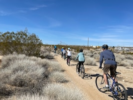 Adults and children alike head out on the newly mapped trails at Edwards Air Force Base, California, March 6.