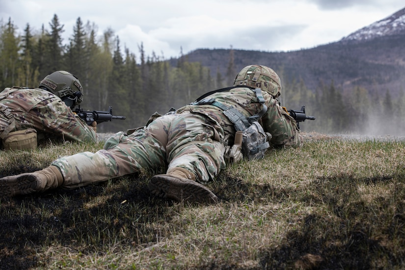 Alaska National Guardsman Spc. Robert Cline, an infantryman assigned to the 1st Battalion, 297th Infantry Regiment, tests his marksmanship skills as a part of the Alaska Army National Guard Best Warrior Competition May 15, 2021, at Joint Base Elmendorf-Richardson. The Best Warrior Competition recognizes Soldiers who demonstrate commitment to the Army values and embody the warrior ethos. (U.S. Army National Guard photo by Spc. Marc Marmeto).