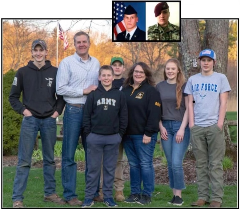 Air Force Capt. Seth Johnson and his family in Enfield, Connecticut. Inspired by the military service of his brother-in-law and two sons, Johnson decided to join the Connecticut Air National Guard in February 2021. (Courtesy asset from Air Force Capt. Seth Johnson)