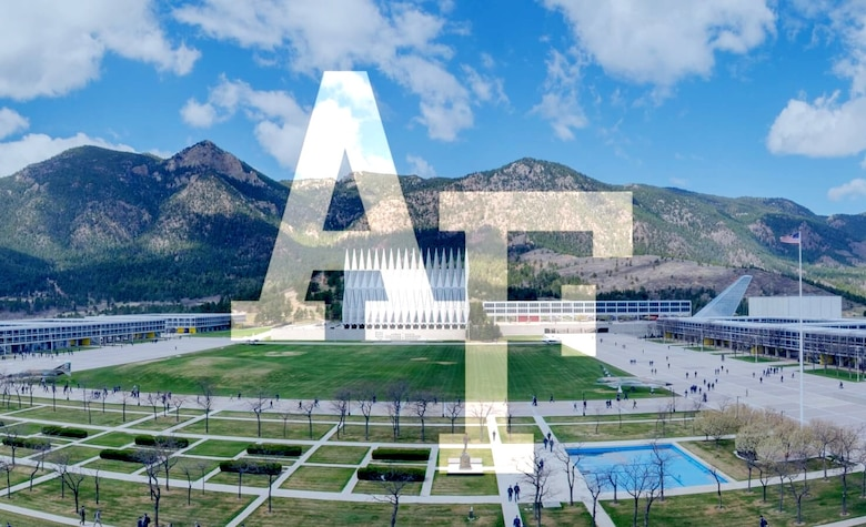 a graphic with the USAFA logo super imposed over an aerial photo of the academy.