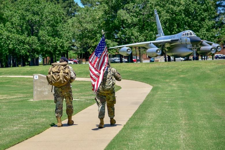 Airmen participate in a ruck march
