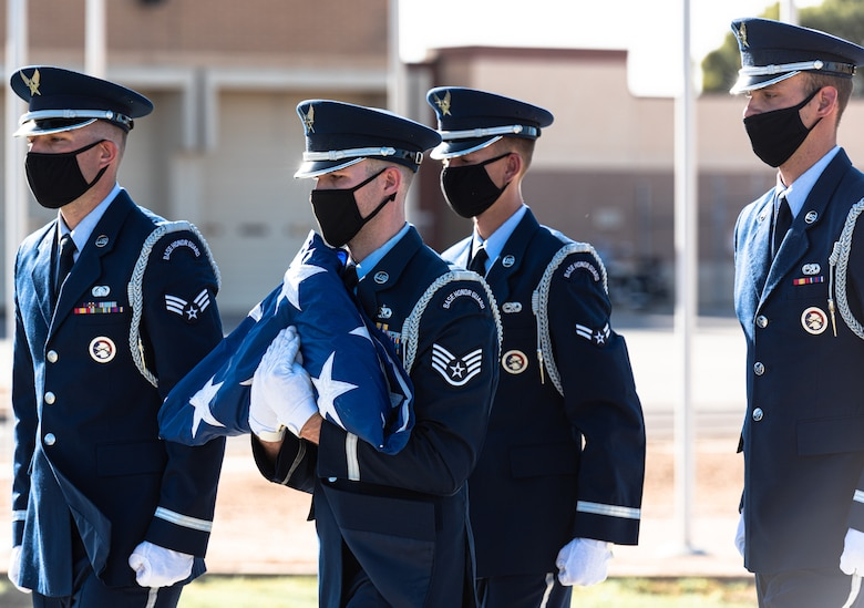 Airmen from Luke Air Force Base Honor Guard participate in the S.S. Mayaguez Memorial Retreat Ceremony, May 14, 2021, at Luke AFB, Arizona.