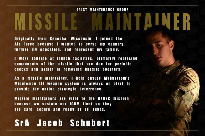 Photo illustration of SrA Jacob Schubert, 373rd Training Squadron Detachtment 22 missile maintenance team trainer. (U.S. Air Force photo illustration by Senior Airman Jacob M. Thompson)