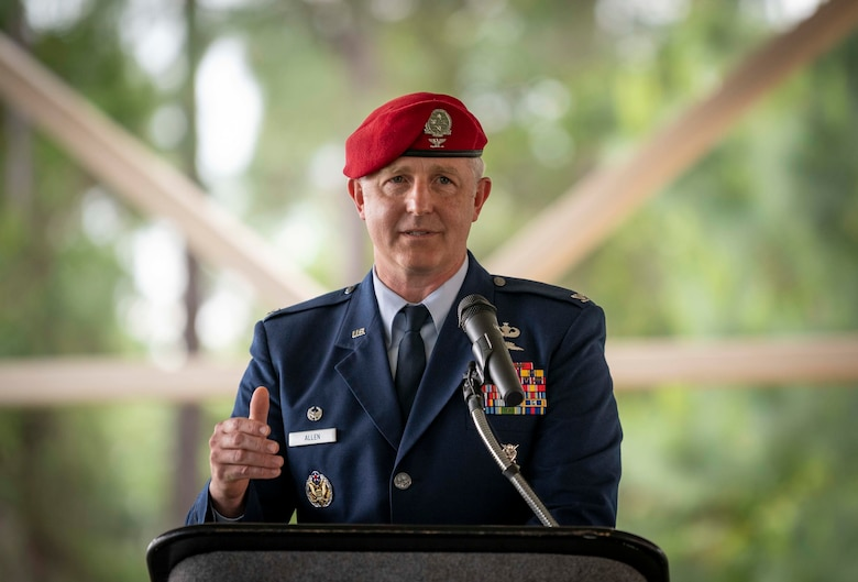 U.S. Air Force Col. Matthew Allen, the commander of the 24th Special Operations Wing, delivers a speech during a dedication ceremony.