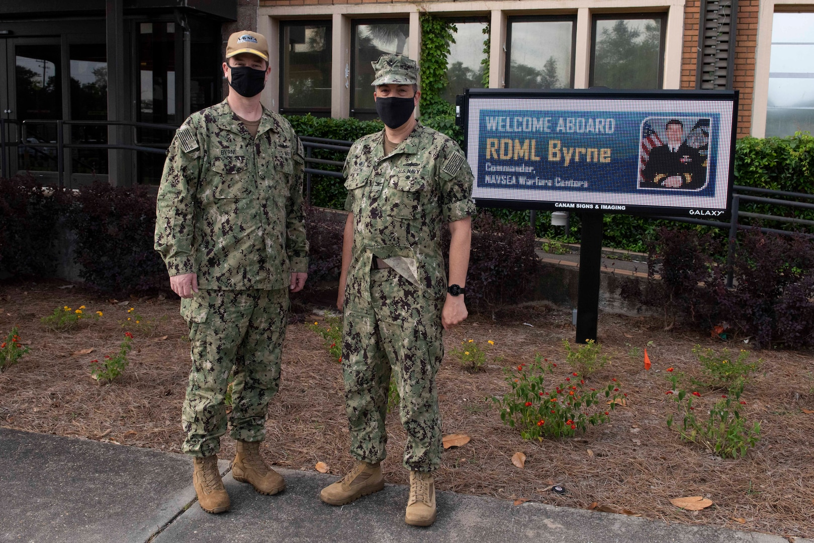 Rear Adm. Kevin Byrne, left, commander of the Naval Sea Systems Command (NAVSEA) Warfare Centers, visited Naval Surface Warfare Center Panama City Division May 18 to learn how the command is expanding the advantage by developing technical capabilities to meet emerging needs.