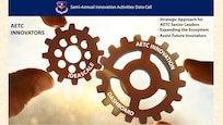 Graphic of two cogwheels symbolizing innovation and collaboration.