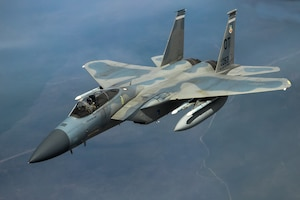 An F-15 from the 85th Test and Evaluation Squadron, 53rd Wing, out of Eglin Air Force Base, Florida conducts aerial refueling operations above the skies of Northern California, May 14. The aircraft participated in the Northern Edge 21 exercise in Alaska earlier in May. (Air Force photo by Ethan Wagner)