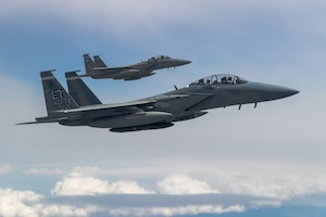 F-15EX Eagle II's from the 40th Flight Test Squadron, 96th Test Wing, and the 85th Test and Evaluation Squadron, 53rd Wing, both out of Eglin Air Force Base, Florida, fly in formation during an aerial refueling operation over Northern California. The aircraft participated in the Northern Edge 21 exercise in Alaska earlier in May. (Air Force photo by Ethan Wagner)