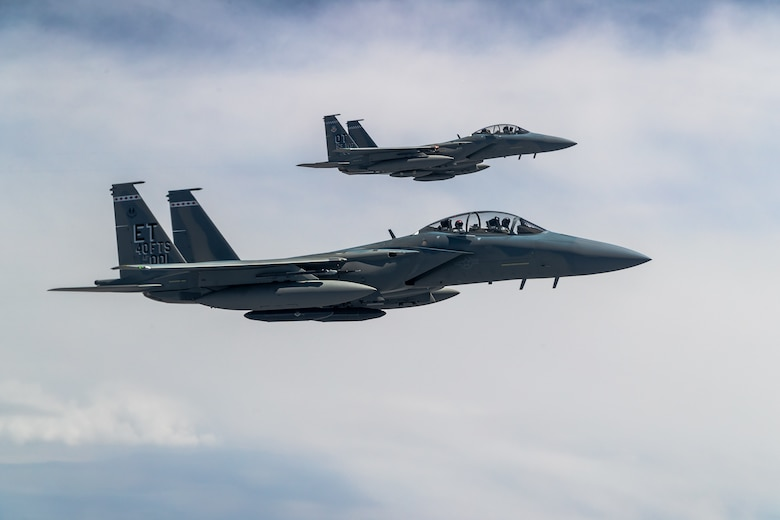 F-15EX Eagle II's from the 40th Flight Test Squadron, 96th Test Wing, and 85th Test and Evaluation Squadron, 53rd Wing, both out of Eglin Air Force Base, Florida, fly in formation during an aerial refueling operation over Northern California, May 14. The aircraft participated in the Northern Edge 21 exercise in Alaska earlier in May. (Air Force photo by Ethan Wagner)